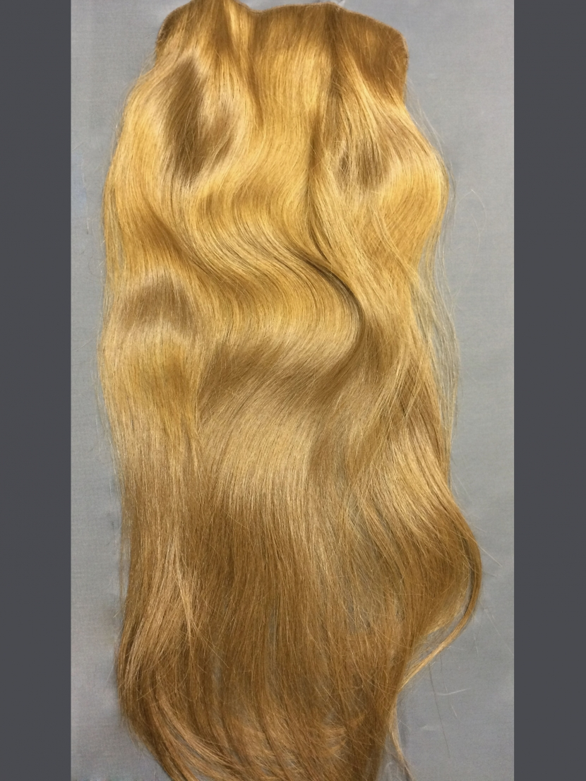 Накладка на заколках из натуральных русых волос