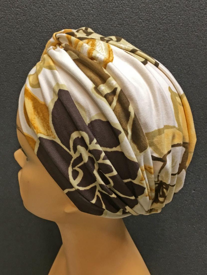 Шапочка-тюрбан после химиотерапии Бежево-коричневая