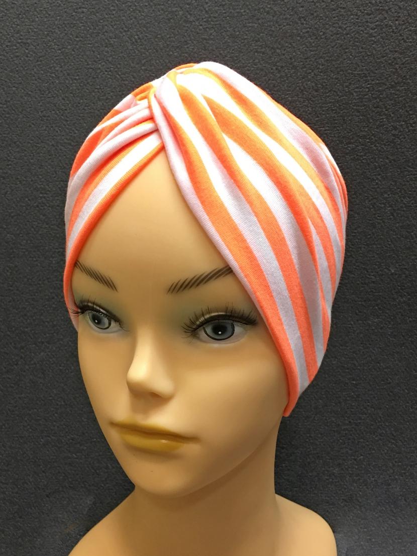 Шапочка после химиотерапии белая в оранжевую полоску